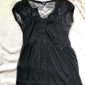 American Eagle Black Lace Short Sleeve Dress